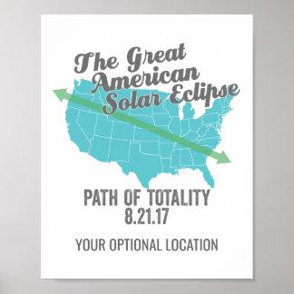 Póster Trayectoria 2017 del eclipse solar de la totalidad