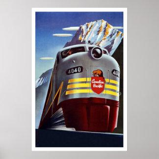 Póster Tren retro Canadá del viaje de la imagen del vinta