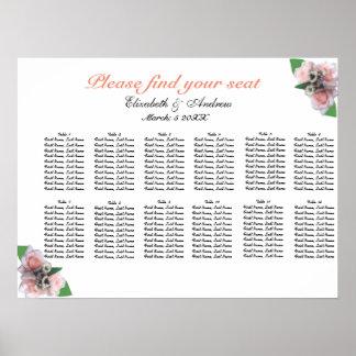 Póster Tres rosas rosados románticos que asientan cartas