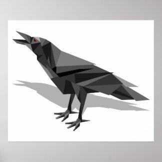 Póster Triángulos grises cubistas geométricos del cuervo