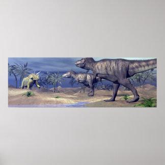Póster Triceratops que ataca del Tyrannosaurus - 3D
