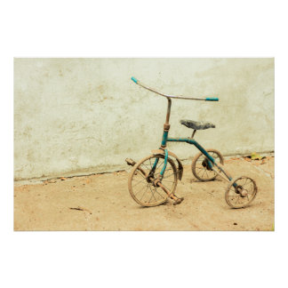 Póster Triciclo raquítico oxidado viejo retro
