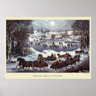 Póster Trineos del navidad del vintage, Central Park en