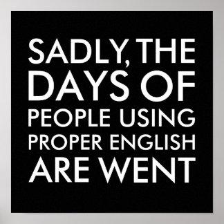Póster Tristemente gente que usa negro inglés apropiado