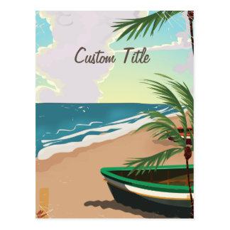 Poster tropical de encargo del vintage de la playa postal