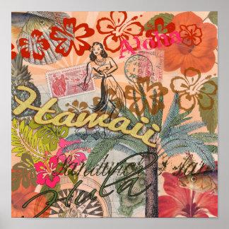 Póster Tropical hawaiano colorido del viaje de Hawaii del