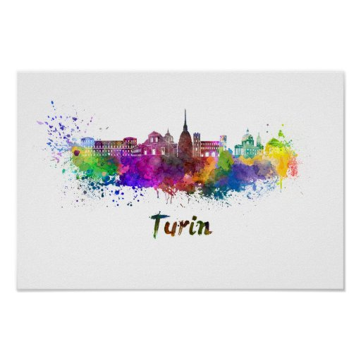 Póster Turin skyline in watercolor