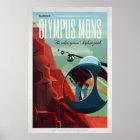 Póster Turista retro del espacio de Marte Olympus Mons