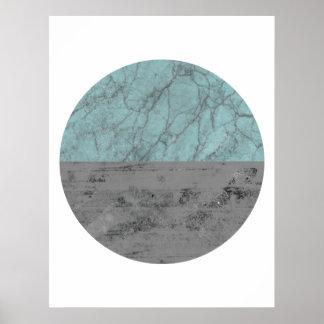 Póster Turquesa el en semi-círculo y poster gris