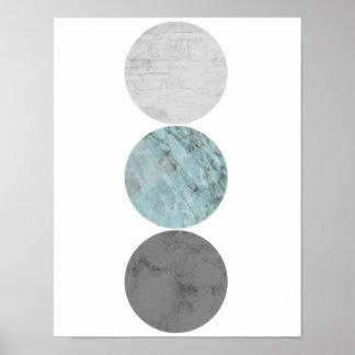 Póster Turquesa y poster de los círculos del gris