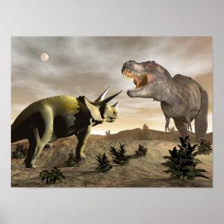 Póster Tyrannosaurus que ruge en el triceratops - 3D