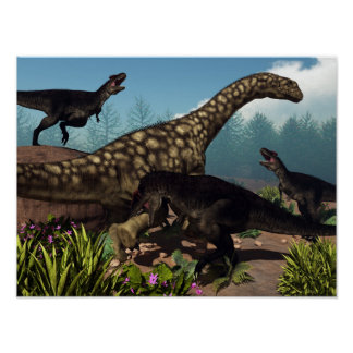 Póster Tyrannotitan que ataca un dinosaurio del