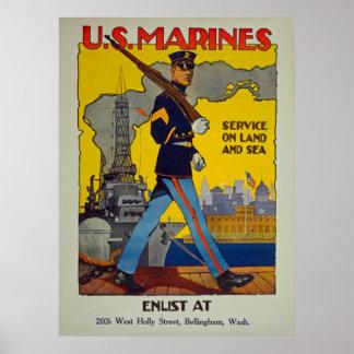 Póster U.S. Los infantes de marina mantienen en vintage