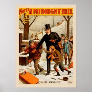 Póster Un poster de medianoche del teatro del vintage de