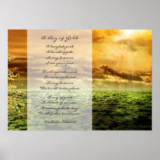 Póster Un rayo de los sueños del ~ del oro del poema del