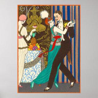 Póster Una noche en poster decadente del art déco de Parí