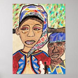 Póster Una pintura original de un hombre y de una mujer