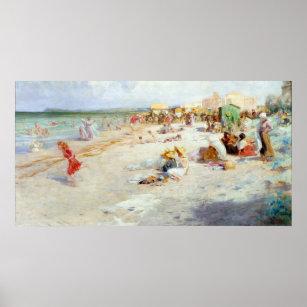 Póster Una playa ocupada en verano