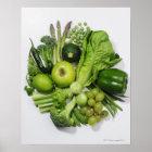 Póster Una selección de frutas y de verduras verdes