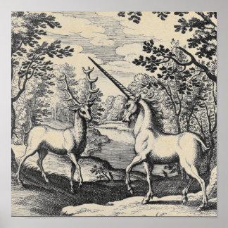 Póster Unicornio mítico en el bosque