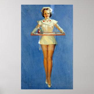 Póster Uniforme atractivo de la enfermera del vintage