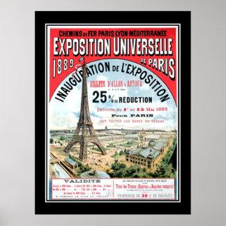 Poster universal 1889 del vintage de París de la e