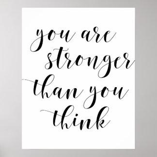 Póster Usted es más fuerte que usted piensa el poster