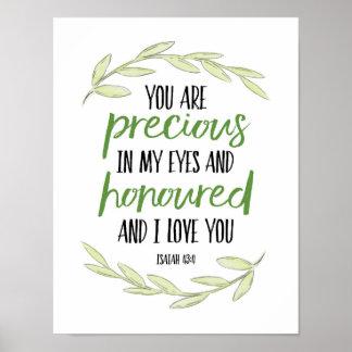 Póster Usted es precioso en mis ojos - 43:4 de Isaías