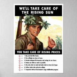 Póster Usted toma el cuidado de precios en aumento --