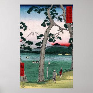 Póster Utagawa Hiroshige Fuji a la izquierda del camino