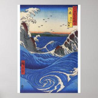 Póster Utagawa Hiroshige, mar salvaje que se rompe en las