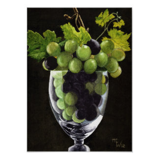 Póster Uvas azules y verdes