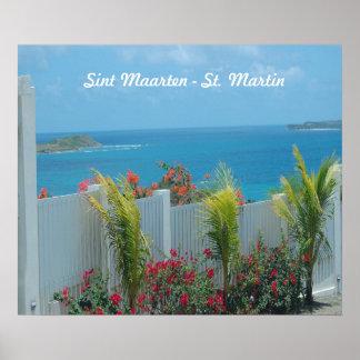 Póster Valla de estacas blanca en Sint Maarten