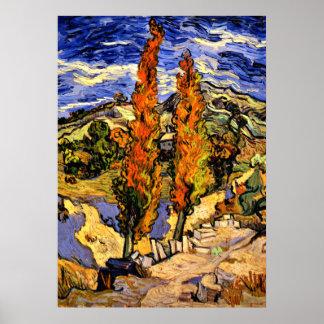 Póster Van Gogh - dos álamos en una colina - 1889