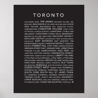 Póster Vecindades del poster de Toronto - blanco y negro
