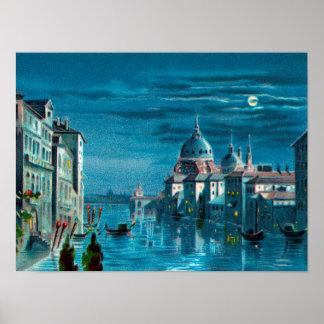 Póster Venecia por claro de luna