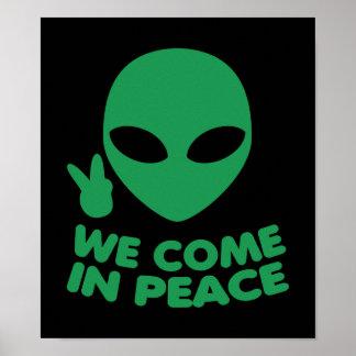 Póster Venimos en extranjero de la paz