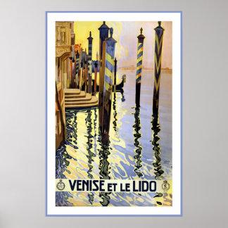 Póster Venise y poster del viaje de Le Lido Vintage