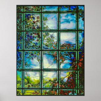 Póster Ventana escénica del vitral del vintage