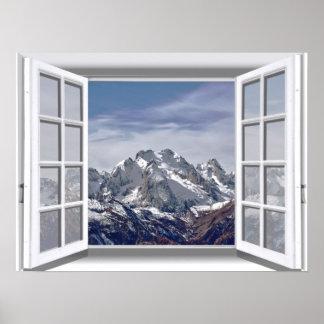 Póster Ventana falsa capsulada nieve 3D de las montañas