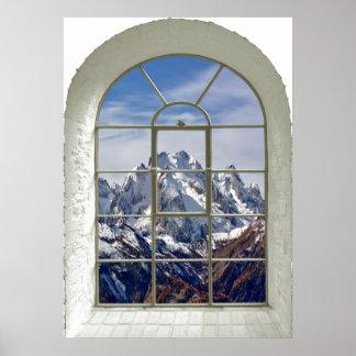 Póster Ventana falsa curvada visión de los picos de