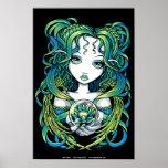 """Poster verde del ángel del agua de """"Kallan"""" Lotus"""