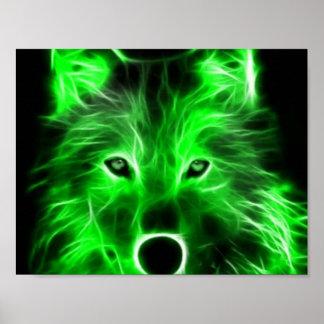 Poster verde fresco del lobo póster