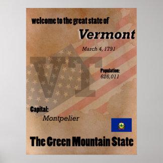Póster Vermont la obra clásica verde del estado de la