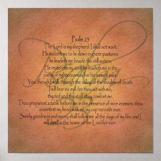 Póster Verso cristiano de la biblia del salmo 23 KJV