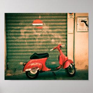 Póster Vespa roja clásica en Italia