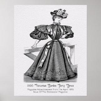 Póster Vestido 1895 de fiesta de jardín del Victorian