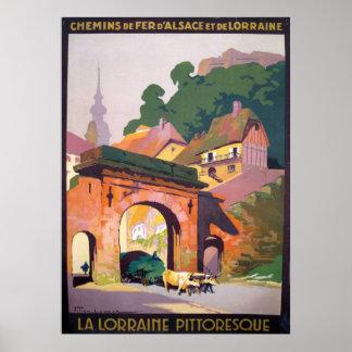 Póster Viaje 1925 del francés de Lorena Pittoresque del