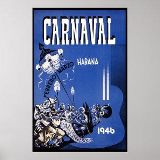 Póster Viaje 1946 del vintage del carnaval de La Habana