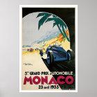 Póster Viaje auto del vintage de Mónaco Grand Prix